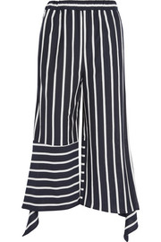 Cropped striped cotton-blend jersey pants