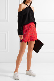 Two-tone corded lace shorts