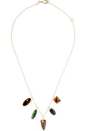 14-karat gold and sterling silver multi-stone necklace