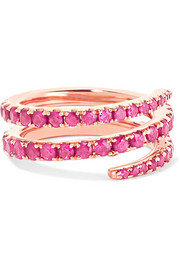 Coil 18-karat rose gold ruby pinky ring