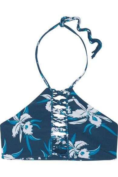 West Oz floral-print crocheted halterneck bikini top