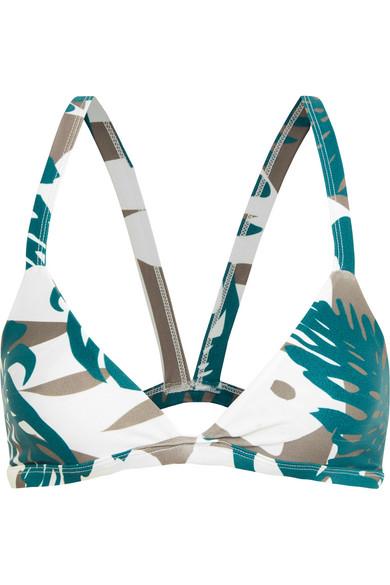 Mikoh - Honolulu Cutout Printed Triangle Bikini Top - Army green