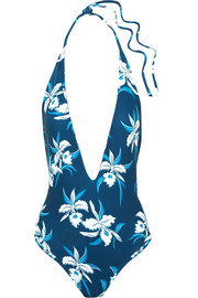 Hinano floral-print halterneck swimsuit