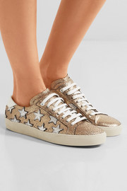 Saint Laurent Court Classic appliquéd metallic cracked-leather sneakers