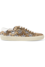 Court Classic appliquéd metallic cracked-leather sneakers