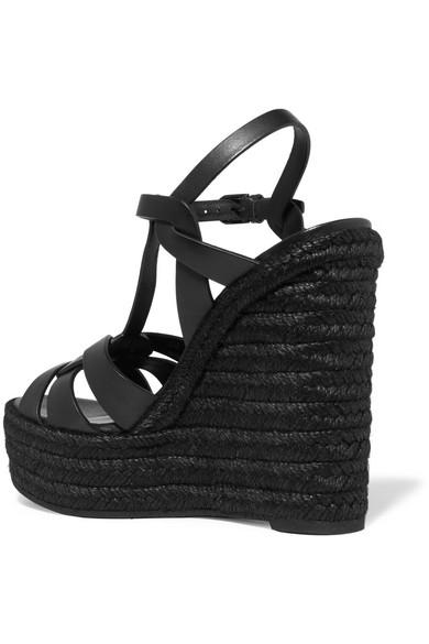 SAINT LAURENT Tribute Leather Espadrille Wedge Sandals