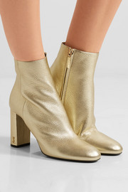 Saint Laurent Lou Lou metallic textured-leather ankle boots
