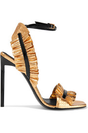 Edie ruffled metallic snake-effect leather sandals