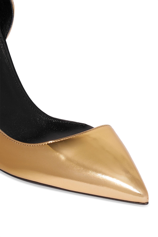 SAINT LAURENT Anya d'Orsay metallic patent-leather pumps