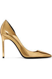 Saint Laurent Anya d'Orsay metallic patent-leather pumps