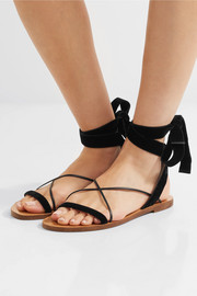 Velvet and leather sandals