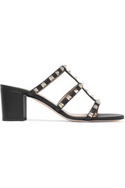 Rockstud leather sandals