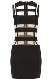 Balmain Cutout mesh-paneled stretch-knit mini dress