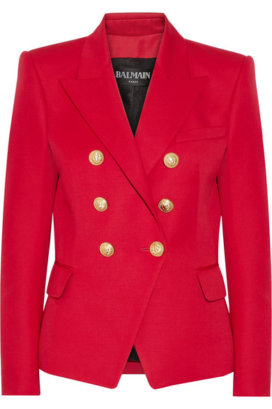 35ec1256 Balmain | Double-breasted wool blazer | NET-A-PORTER.COM
