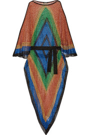 Color-block metallic open-knit kaftan