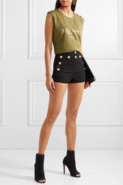 Button-detailed stretch-denim shorts