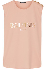 Balmain Button-embellished printed cotton-jersey top