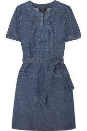 Jess pintucked cotton-chambray dress