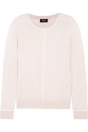 A.P.C. Atelier de Production et de Création Manda crochet-trimmed cotton and linen-blend sweater