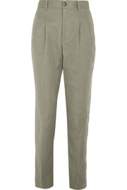 Lena cotton and linen-blend tapered pants