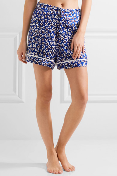 Olivia Von Halle Millicent Printed Silk Satin Pajama Set