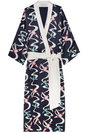 Queenie Amelia printed silk-satin robe