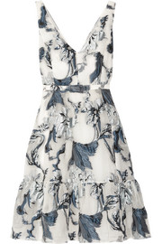 Erdem Gaby belted fil coupé dress