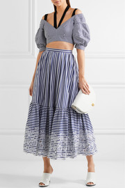 Erdem Leigh embroidered striped cotton midi skirt