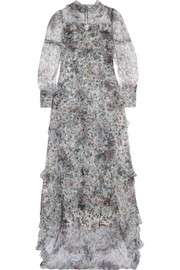 Erdem Stacey ruffled floral-print tulle gown