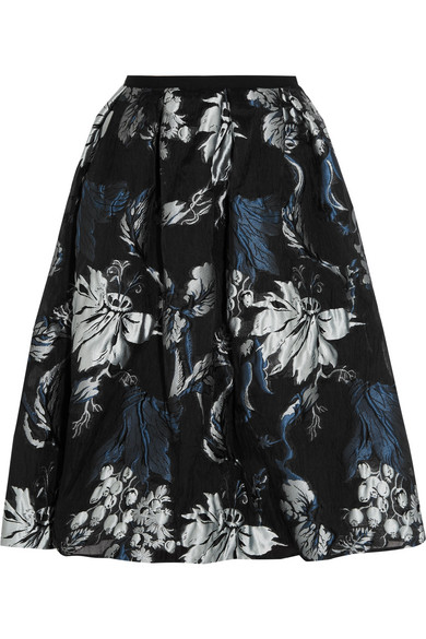 Erdem - Halyn Pleated Metallic Jacquard Skirt - Black