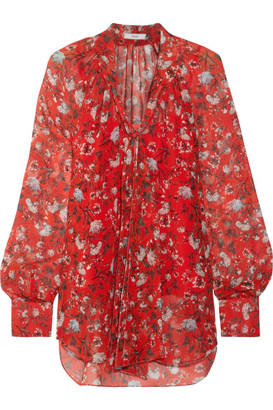 Erdem - Rosabel Pussy-bow Floral-print Silk-chiffon Blouse - Red