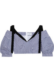 Erdem Debra cropped striped cotton top