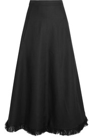 Barbara Casasola Frayed linen-blend midi skirt