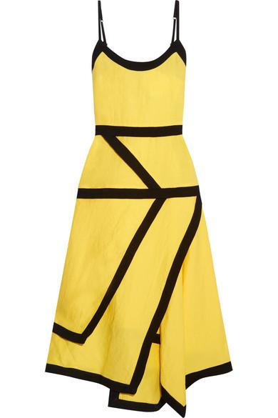 J.W.Anderson - Two-tone Linen-blend Midi Dress - Yellow