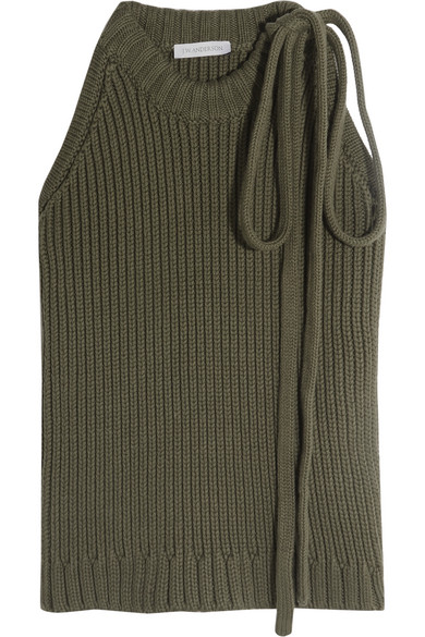 J.W.Anderson - Ribbed Cotton Top - Army green