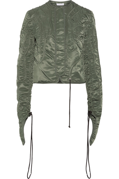 J.W.Anderson - Cropped Textured Satin-twill Jacket - Army green