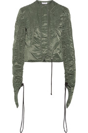 Cropped textured satin-twill jacket
