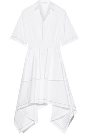 Asymmetric embroidered cotton-poplin midi dress