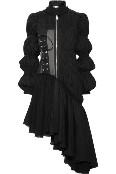 J.W.Anderson - Asymmetric Plissé-satin Dress - Black