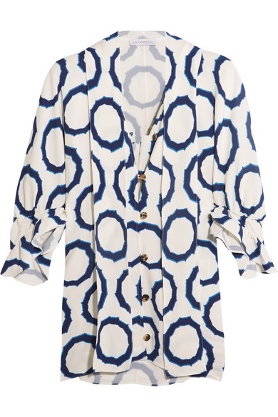J.W.Anderson - Pussy-bow Printed Cady Blouse - Indigo