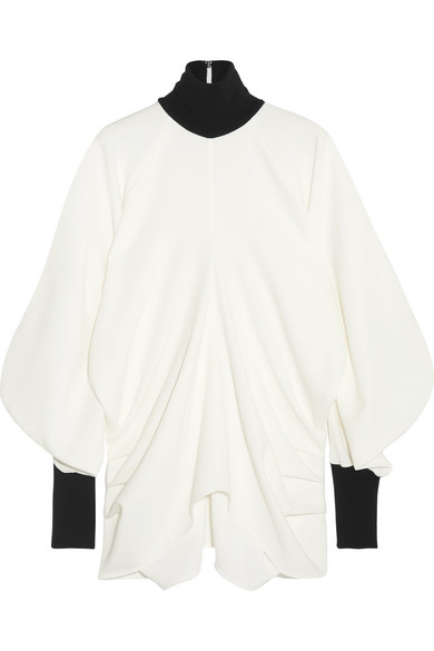 J.W.Anderson - Draped Ribbed Knit-trimmed Crepe Turtleneck Top - White