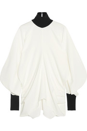 J.W.Anderson Draped ribbed knit-trimmed crepe turtleneck top