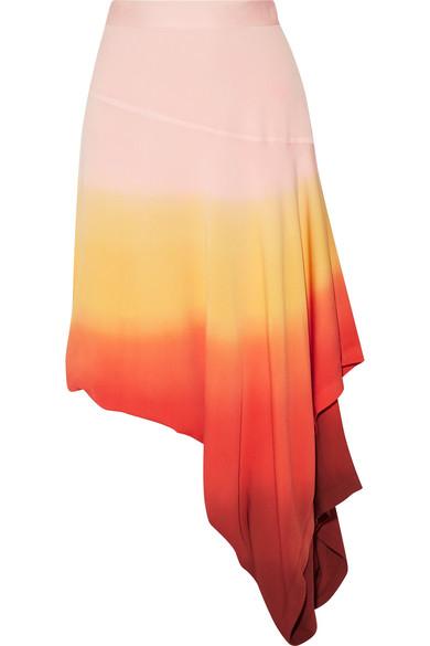J.W.Anderson - Layered Dégradé Stretch-crepe Midi Skirt - Bright orange