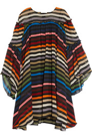 Sonia Rykiel Ruffled striped silk-chiffon dress