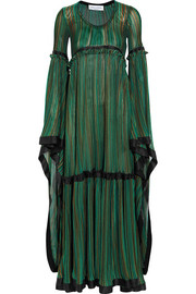 Sonia Rykiel Striped silk satin-trimmed stretch-knit gown