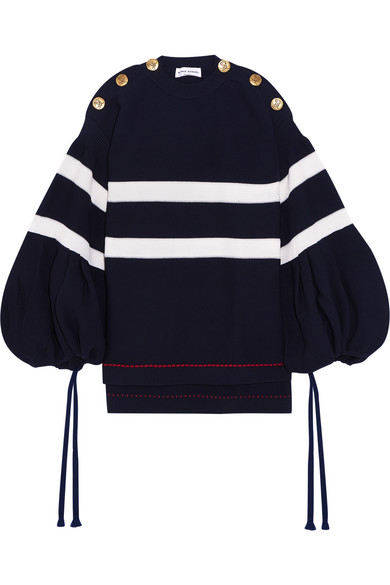 Sonia Rykiel - Oversized Button-detailed Striped Knitted Sweater - Midnight blue