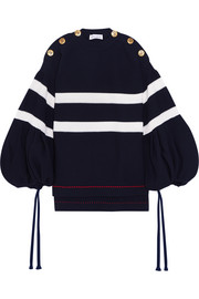 Sonia Rykiel Oversized button-detailed striped knitted sweater