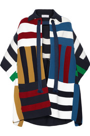 Striped ribbed stretch-knit poncho