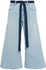Belted cropped wide-leg jeans