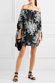 Sonia Rykiel Off-the-shoulder floral-print cotton mini dress